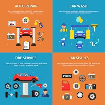 Zestaw kolorowych banerów ilustracje koncepcji usług samochodowych