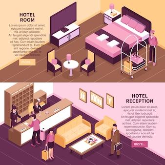 Zestaw kolorowych banerów izometryczny hotel