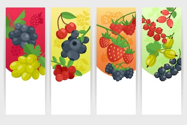 Zestaw kolorowych banerów jagodowych