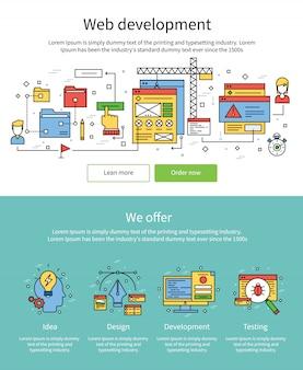 Zestaw kolorowych banerów rozwoju sieci web