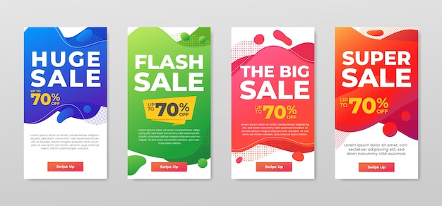 Zestaw kolorowych banerów sprzedaży. dynamiczny nowoczesny projekt abstrakcyjny