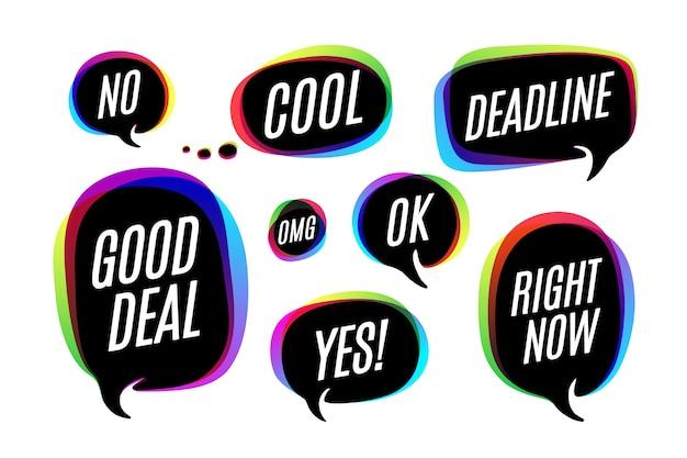 Zestaw kolorowych baniek, ikon lub rozmowa w chmurze