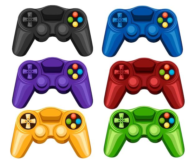 Zestaw kolorowych bezprzewodowych padów do gier. kontroler gier wideo. gamepad do gier na pc lub konsolę. ilustracja na białym tle.