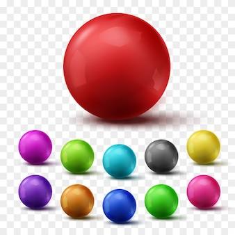 Zestaw kolorowych błyszczących kulek na szarym tle.