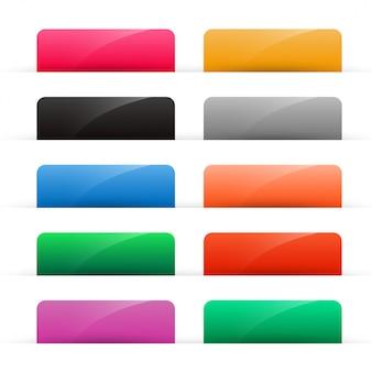 Zestaw kolorowych błyszczących przycisków internetowych
