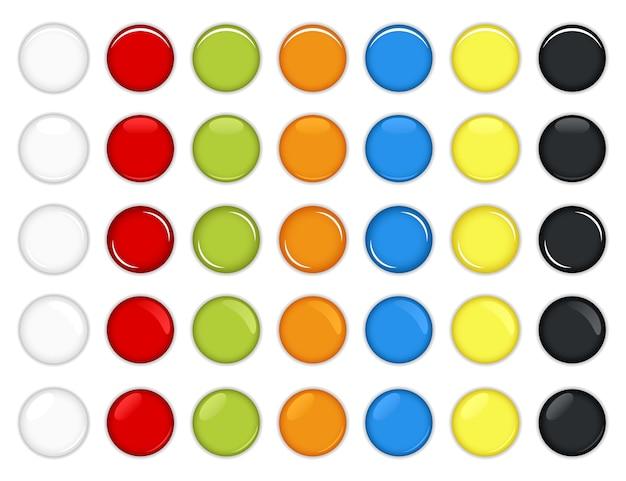 Zestaw kolorowych błyszczących przycisków
