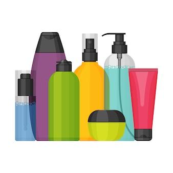 Zestaw kolorowych butelek kosmetycznych, płaska