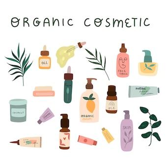Zestaw kolorowych butelek, słoików i tubek kosmetyków organicznych.