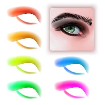 Zestaw kolorowych cieni do powiek i realistyczne oko