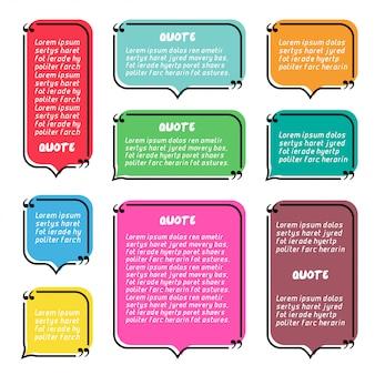 Zestaw kolorowych cytat pole mowy bańka szablon transparent.