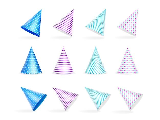 Zestaw kolorowych czapeczek urodzinowych w paski i groszki
