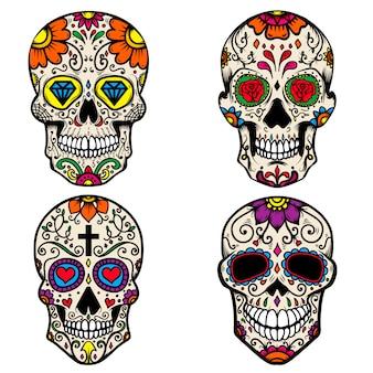 Zestaw kolorowych czaszki cukru na białym tle. dzień śmierci. dia de los muertos. element do plakatu, karty, banera, druku. ilustracja
