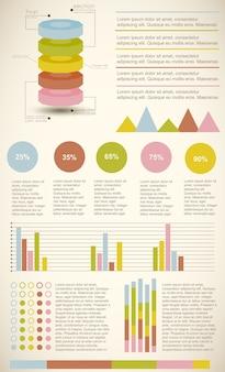 Zestaw kolorowych diagramów vintage infografiki przedstawiających statystyki i wartości procentowe