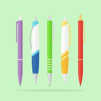 Zestaw kolorowych długopisów, ołówek. artykuły papiernicze do biura, domu