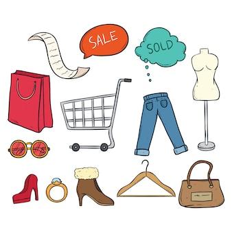 Zestaw kolorowych doodle czas zakupów z kobiet tkaniny i akcesoria