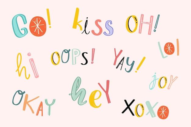 Zestaw kolorowych doodle słów