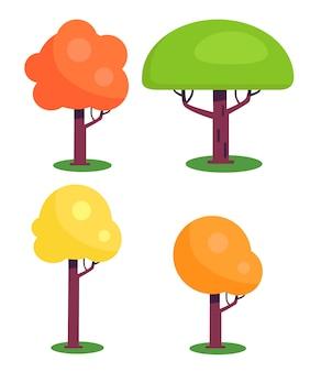 Zestaw kolorowych drzew z czerwonymi zielonymi żółtymi liśćmi
