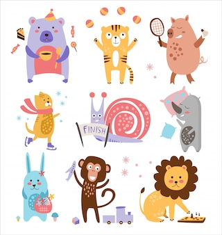 Zestaw kolorowych dziecinnych zwierząt