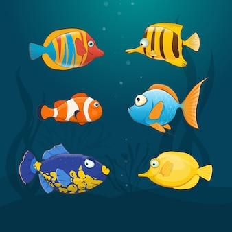 Zestaw kolorowych egzotycznych ryb pod wodą. ilustracja w stylu kreskówki
