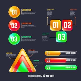 Zestaw kolorowych elementów infographic