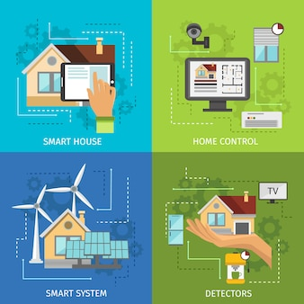 Zestaw kolorowych elementów inteligentnego domu