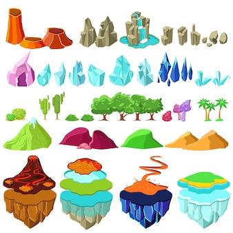 Zestaw kolorowych elementów krajobrazu wyspy gry