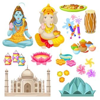 Zestaw kolorowych elementów kultury indyjskiej
