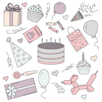 Zestaw kolorowych elementów na urodziny.