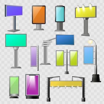 Zestaw kolorowych elementów reklamy ulicznej