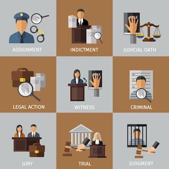 Zestaw kolorowych elementów systemu sądownictwa
