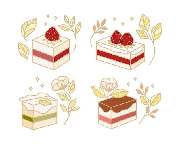 Zestaw kolorowych elementów tortu, ciasta, piekarni z gałęzi truskawek i liści