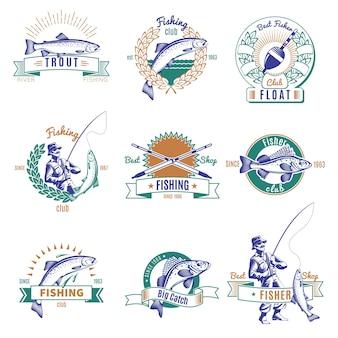 Zestaw kolorowych emblematów połowów