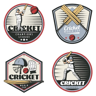Zestaw kolorowych emblematów sport vintage cricket