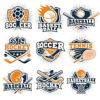 Zestaw kolorowych emblematów sportowych