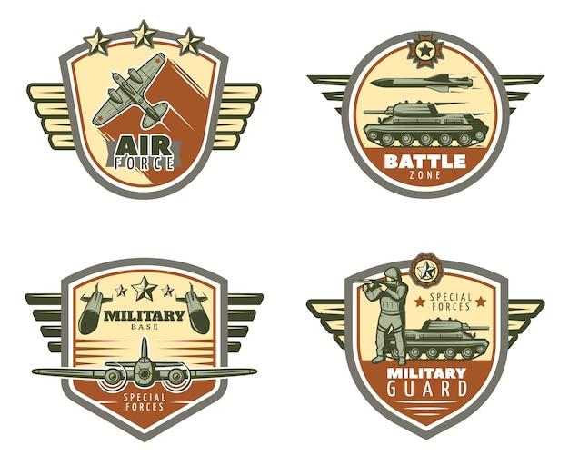 Zestaw kolorowych emblematów wojskowych vintage