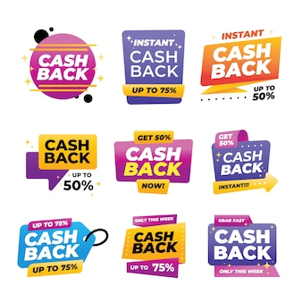 Zestaw kolorowych etykiet cashback