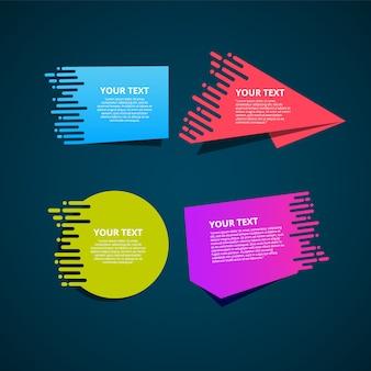 Zestaw kolorowych etykiet origami dla tekstu