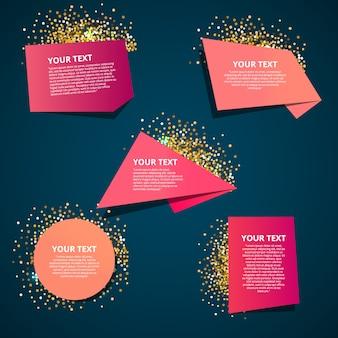 Zestaw kolorowych etykiet origami dla tekstu.