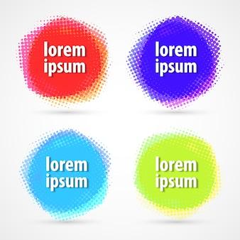 Zestaw kolorowych etykiet półtonów koło.