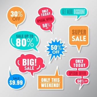 Zestaw kolorowych etykiet sprzedaży balon mowy pęcherzyków elementy konstrukcyjne
