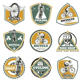 Zestaw kolorowych etykiet vintage rowerowych