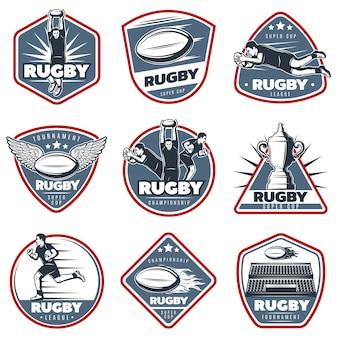 Zestaw kolorowych etykiet vintage rugby