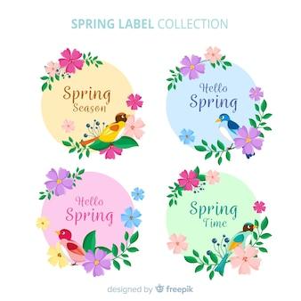 Zestaw kolorowych etykiet wiosna