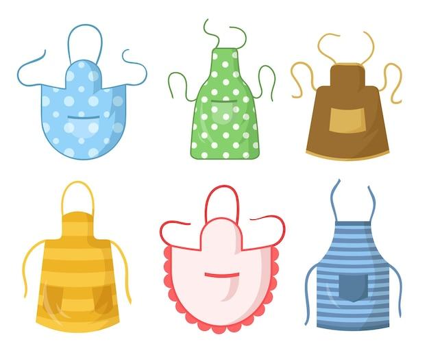 Zestaw kolorowych fartuchów kuchennych. odzież ochronna z wzorami kolekcji
