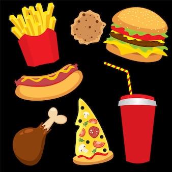 Zestaw kolorowych fast foodów do restauracji