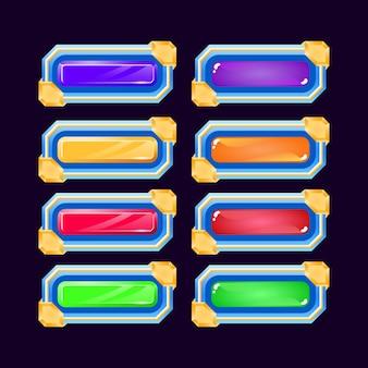 Zestaw kolorowych galaretek i diamentowych przycisków gry fantasy z błyszczącym obramowaniem dla elementów zasobu gui