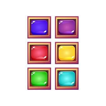 Zestaw kolorowych galaretek interfejsu gry