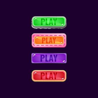 Zestaw kolorowych galaretowatych przycisków interfejsu gry z kamieniem i swobodną obwódką dla elementów aktywów gui