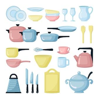Zestaw kolorowych garnków i patelni. kolekcja naczyń szklanych i naczyń do gotowania. naczynia kuchenne. durszlak, tarka, deska do krojenia. sprzęt do gotowania na białym tle