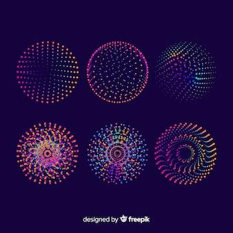 Zestaw kolorowych geometrycznych cząstek 3d